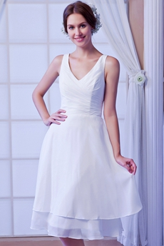 Casual Chiffon V-Neckline Knee Length Beach Wedding Dress