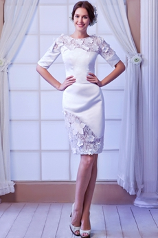 Column Mini Length 1/2 Sleeves Summer Beach Wedding Dress