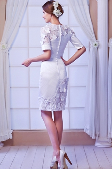 Column Mini Length 1/2 Sleeves Summer Beach Wedding Dress