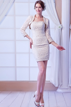 Sheath Mini Length Champagne Lace Wedding Guest Dress With Jacket
