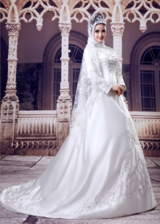 Graceful High Neckline Full Sleeves Embroidery Satin Wedding Dress For Muslim Brides
