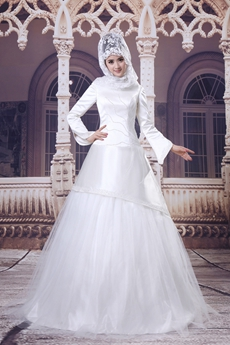 Fashionable Long Sleeves Embroidered Beads Muslim Wedding Dress