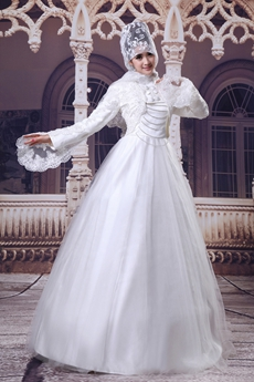 Beautiful White Tulle Princess Muslim Wedding Dress With Lace Bolero