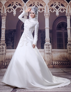 Traditional Full Sleeves Satin Muslim Wedding Gown With Appliques