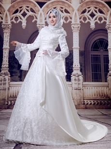 Trumpet Sleeves A-line Lace Material Muslim Wedding Dress