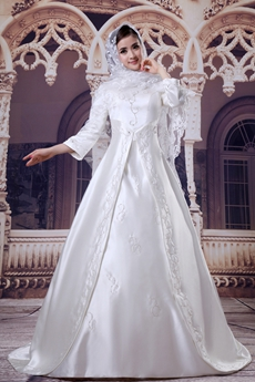 3/4 Sleeves Embroidery Satin Muslim Wedding Dress