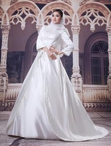 3/4 Sleeves Embroidery Satin Muslim Wedding Dress
