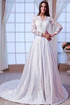V-Neckline Long Sleeves A-line Winter Lace Wedding Dress