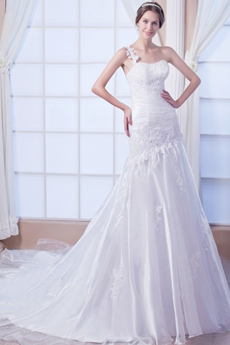 One Straps A-line Organza Dropped Waist Plus Size Wedding Gown