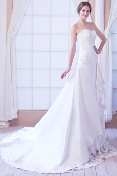 Dropped Waist A-line Satin And Lace Plus Size Wedding Dress