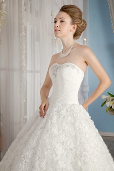 Fairytale Shallow Sweetheart Princess Floral Wedding Gown Corset Back
