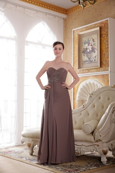 Modest Sweetheart Column Long Brown Chiffon Bridesmaid Dress