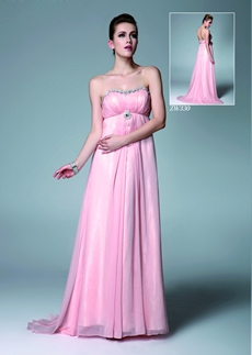 Grecian Dipped Neckline Empire Pink Chiffon Maternity Prom Dress