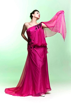 One Shoulder Column Full Length Fuchsia Evening Dress