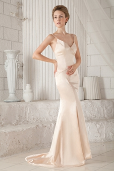 Spaghetti Straps V-Neckline Sheath Satin Champagne Mother Of The Bride Dress