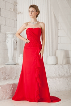 Modern A-line Full Length Red Chiffon Prom Dress With Frills