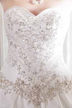 Embroidered Sweetheart A-line Plus Size Bridal Dress Corset Back