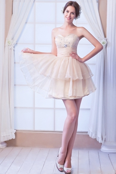 Cute Sweetheart Puffy Champagne Sweet 16 Dress