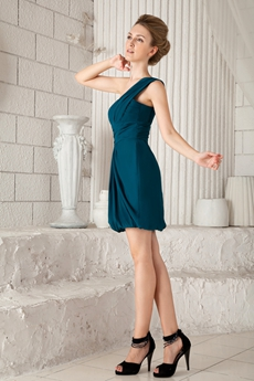 Chic One Shoulder Column Mini Length Teal Wedding Guest Dress