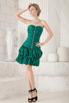 A-line Mini Length Hunter Green Wedding Guest Dress