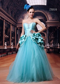 Sweetheart Tiffany Blue Tulle Princess Quinceanera Dress