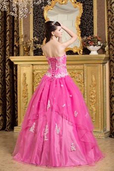 Pretty Sweetheart Hot Pink Organza Vestidos de Quinceanera Dress