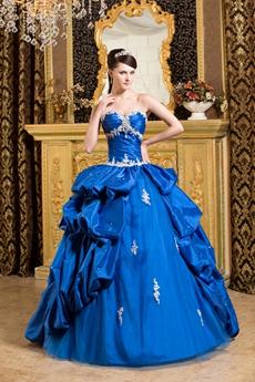 gorgeous Shallow Royal Blue Taffeta Quinceanera Dress With Short Sleeves Bolero