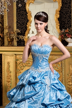 Beautiful Sweetheart Ball Gown Blue Taffeta Vestidos de Quinceanera Dress With Bolero