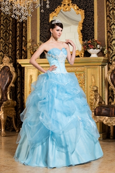 Beautiful Sweetheart Neckline Light Sky Blue Quinceanera Dress Corset Back
