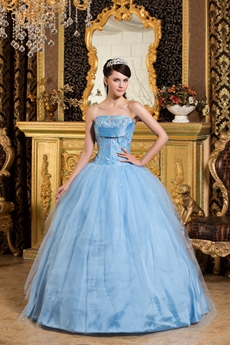 Colorful Beads Strapless Ball Gown Baby Blue Quinceanera Dress