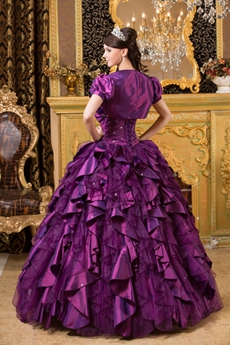 One Shoulder Ball Gown Multi Folded Eggplant Sweet 15 Dress With Bolero