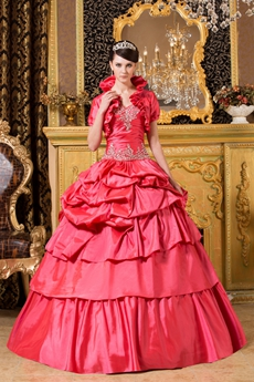Watermelon Taffeta Ball Gown Sweet 15 Quince Dress With Bolero