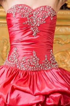Watermelon Taffeta Ball Gown Sweet 15 Quince Dress With Bolero