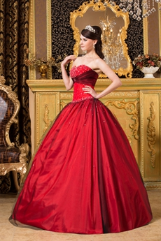 Beaded Sweetheart Ball Gown Red And Black Colorful Quinceanera Dress