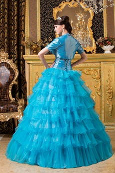 Breathtaking Hater Ball Gown Full Length Turquoise Quinceanera Dress With Bolero