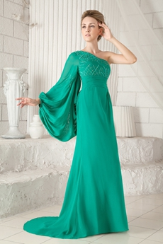 Graceful One Shoulder Long Sleeves Green Chiffon Mother Of The Bride Dress