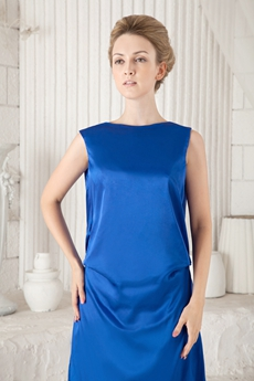 Ankle Length Column Royal Blue Mother Of The Bride Dress Backless