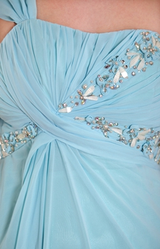 One Shoulder Empire Blue Chiffon Maternity Prom Dress