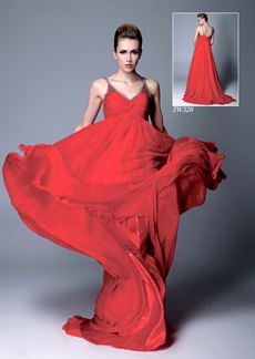 Spaghetti Straps V-Neckline Empire Red Chiffon Maternity Evening Dress