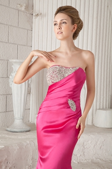 Glamour Dipped Neckline Sheath Full Length Hot Pink Satin Prom Dress