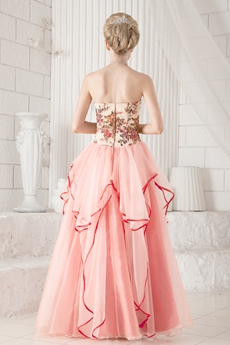 Beautiful Multi Colored Column Full Length Coral Prom Gown