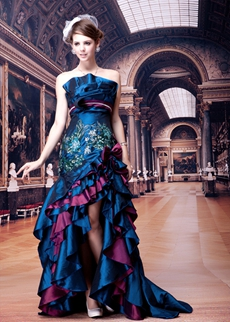 Royal Blue And Purple High Low Sweet 16 Dress