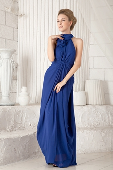 Casual Halter Column Ankle Length Royal Blue Chiffon Maxi Evening Dress