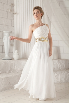 Column Floor Length White Chiffon Informal Evening Gown