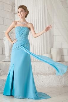 Column Full Length Blue Chiffon Prom Dress With Great Handwork
