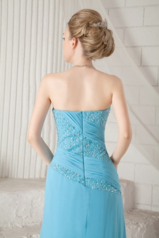 Column Full Length Blue Chiffon Prom Dress With Great Handwork