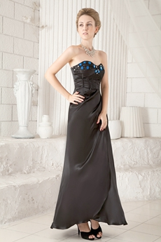 Ankle Length Column Black Mother Of The Bride Dress