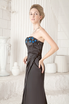Ankle Length Column Black Mother Of The Bride Dress