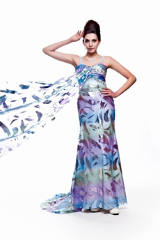 Attractive Shallow Sweetheart Multi-colored Maxi Evening Dresses With Ribbon