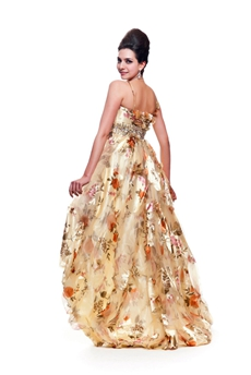 Spaghetti Straps Printed Fabric High Low Prom Dress